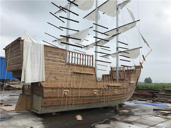 大型户外景观装饰木质海盗船帆船